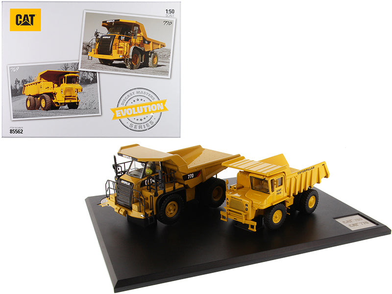 "CAT Caterpillar 769 Off-Highway Truck (1963-2006) and CAT Caterpillar 770 Off-Highway Truck (2007-Present) with Operators ""Evolution Series"" Set of 2 pieces 1/50 Diecast Models by Diecast Masters"