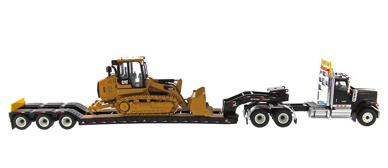 International HX520 Tandem Tractor Black with XL 120 Lowboy Trailer & CAT Caterpillar 963K Track Loader Set of 2 pieces 1:50 Scale Models - Diecast Masters - 85599