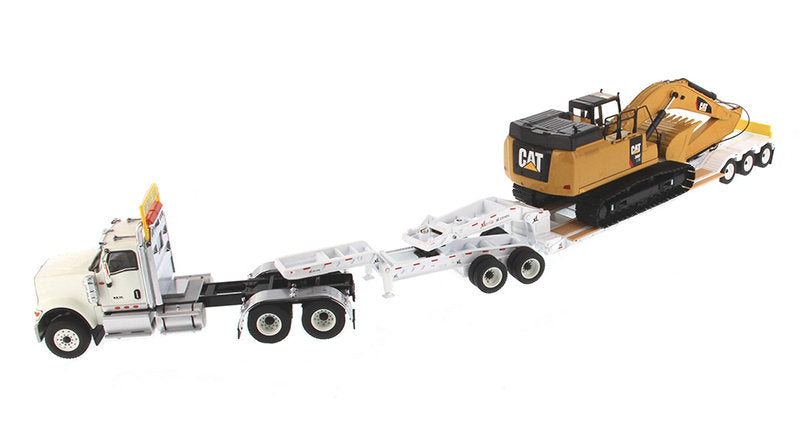 International HX520 Tandem Tractor White w/ XL 120 Lowboy Trailer & CAT Caterpillar 349F L XE Hydraulic Excavator Set of 2 pieces 1:50 Scale Models - Diecast Masters - 85600