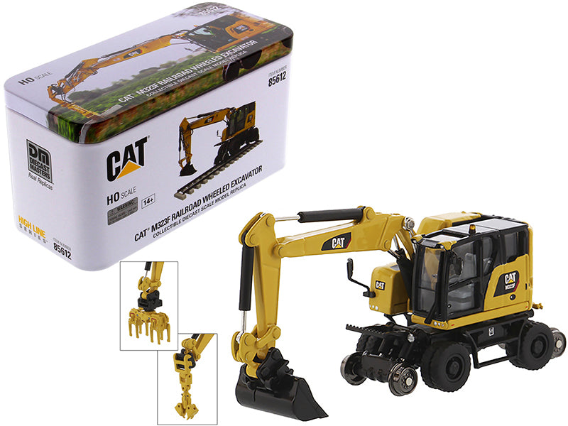 "Caterpillar CAT M323F Railroad Wheeled Excavator w/ 3 Accessories ""High Line"" Series 1/87 (HO) Scale Diecast Model - Diecast Masters - 85612"
