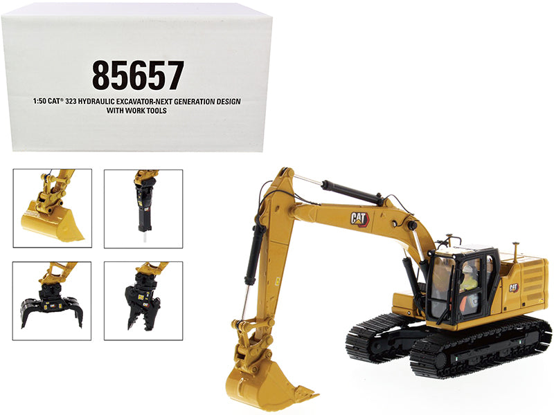"Cat Caterpillar 323 Hydraulic Excavator Next Generation Design with 4 Work Tools and Operator ""High Line Series"" 1:50 Model - Diecast Masters - 85657"