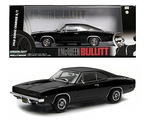 "1968 Dodge Charger Black R/T Steve McQueen ""Bullitt"" Movie (1968) 1/43 Diecast Model Car - Greenlight - 86432"