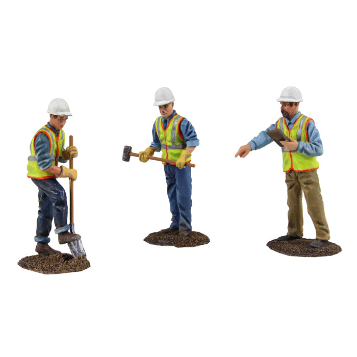1:50 scale Worker Digging with Shovel, Worker Holding Sledge Hammer, Site Supervisor Holding Clipboard - First Gear 90-0481