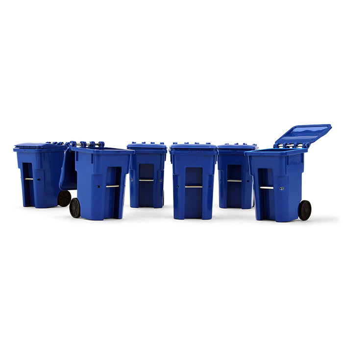 Blue Trash Carts Set of 6 Cans 1:34 Scale Model Accessories - First Gear 90-0518