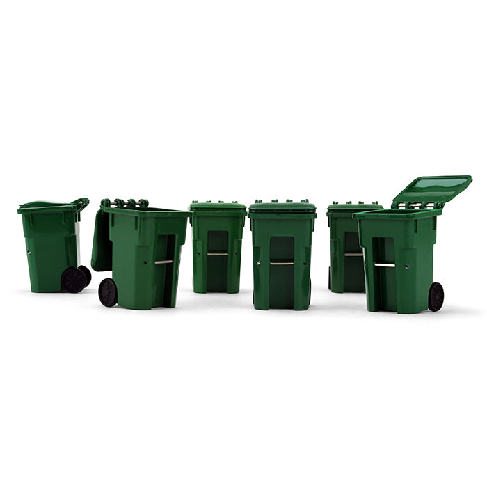Green Trash Carts Set of 6 Cans 1:34 Scale Model Accessories - First Gear 90-0519