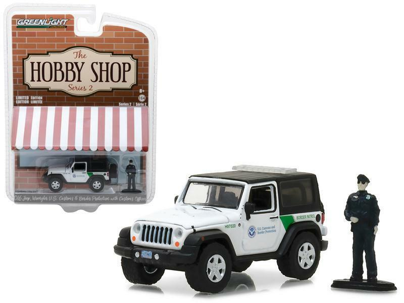 2016 Jeep Wrangler U.S. Customs w/Officer Hobby Shop Series 2 - 1:64 Scale Model -  Greenlight - 97020E