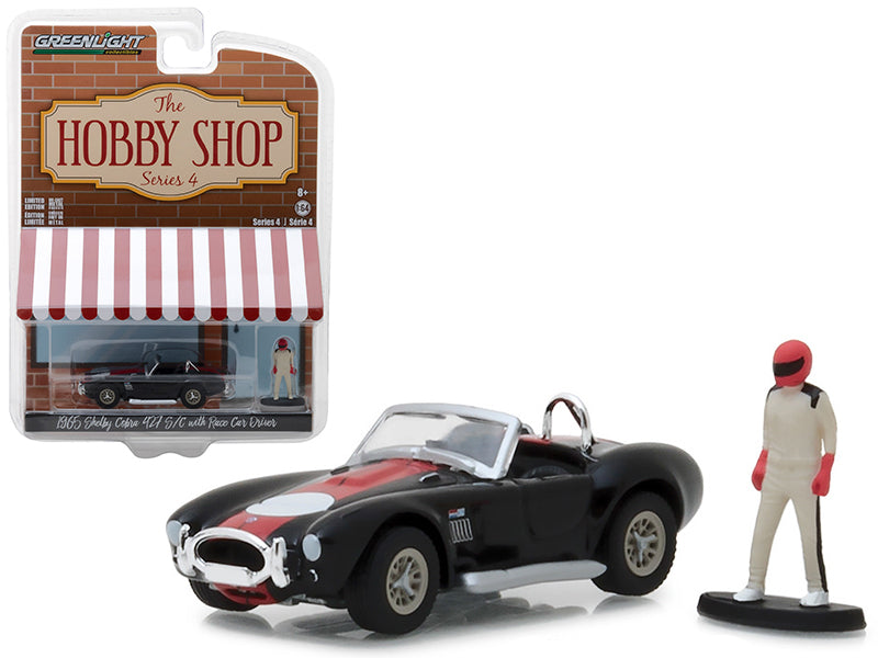 "1965 Shelby Cobra 427 S/C Black w/ Race Car Driver ""The Hobby Shop"" Series 4 1:64 Diecast Model Car - Greenlight - 97040A"