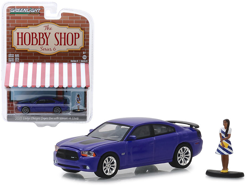 "2013 Dodge Charger Super Bee Metallic Purple w/ Black Stripes & Woman in Dress Figure ""The Hobby Shop"" Series 6 1:64 Diecast Model Car - Greenlight - 97060F"