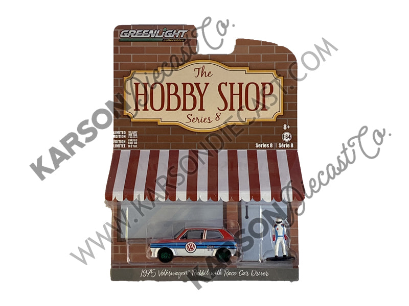 "CHASE 1975 Volkswagen Rabbit White with Stripes and Race Car Driver Figurine ""The Hobby Shop"" Series 8 Diecast 1:64 Model - Greenlight - 97080B"