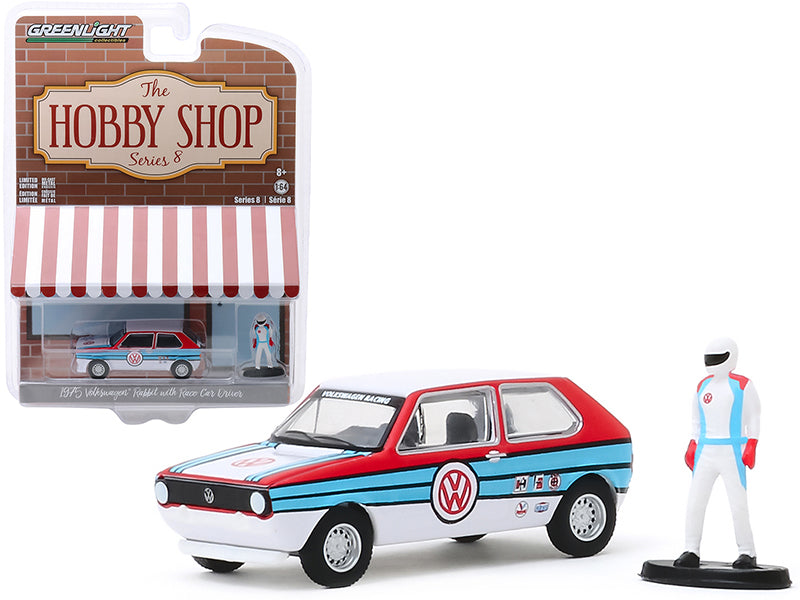 "1975 Volkswagen Rabbit White with Stripes and Race Car Driver Figurine ""The Hobby Shop"" Series 8 Diecast 1:64 Model - Greenlight - 97080B"