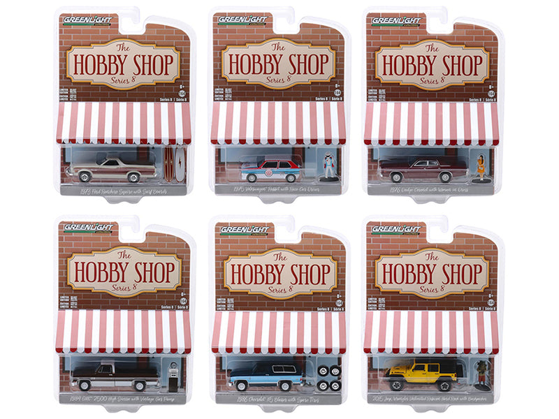 """The Hobby Shop"" Series 8, Set of 6 pieces Diecast 1:64 Model Cars - Greenlight - 97080"
