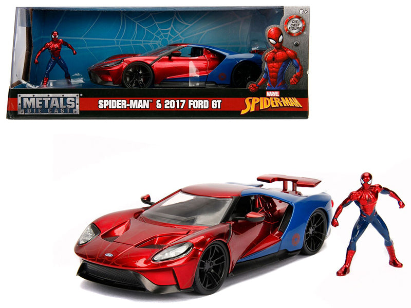 "2017 Ford GT w/ Spider Man Diecast Figure ""Marvel"" Series 1:24 Diecast Model - Jada - 99725"