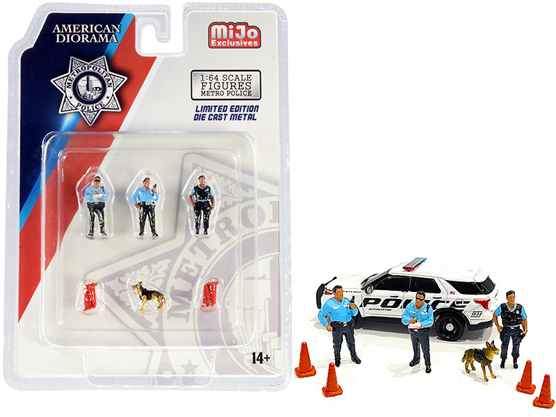 """Metropolitan Police"" 8 piece Diecast Set (3 Figurines and 1 Dog and 4 Accessories) for 1:64 Scale Models - American Diorama - AD76459"