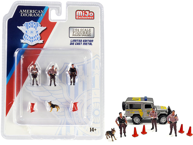 """Indonesia Police"" 8 piece Diecast Set (3 Figurines and 1 Dog and 4 Accessories) for 1:64 Scale Models - American Diorama - AD76460"