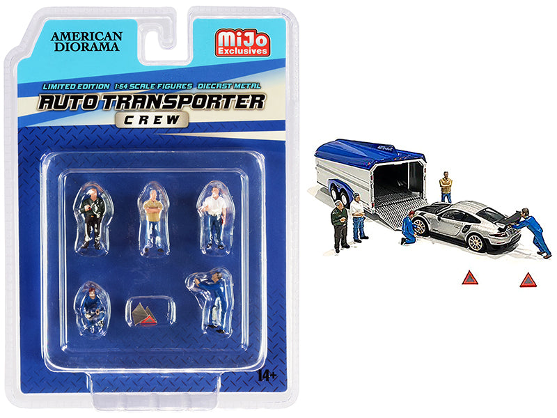 """Auto Transporter Crew"" Diecast Set of 7 pieces (5 Figurines and 2 Warning Triangles) for 1:64 Scale Models - American Diorama - AD76464"