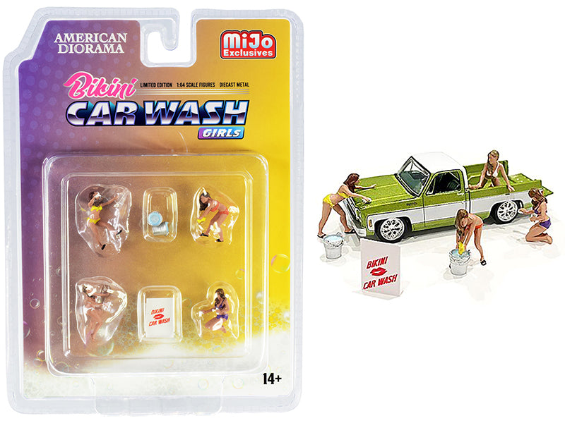 """Bikini Car Wash Girls"" Diecast Set of 7 pieces (4 Figurines and 3 Accessories) for 1:64 Scale Models - American Diorama - AD76465"