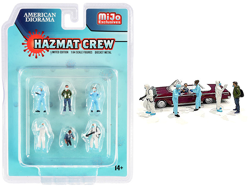 """Hazmat Crew"" 6 piece Diecast Figurine Set for 1:64 Scale Models - American Diorama - AD76466MJ"