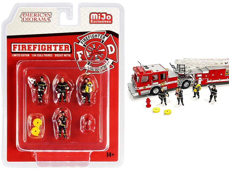 """Firefighter"" 7 piece Diecast Set (4 Figurines and 3 Accessories) 1:64 Scale Models - American Diorama AD76468"