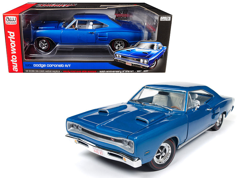 1969 Dodge Coronet R/T B5 Blue 50th Anniversary Limited Edition to 1002 pcs Worldwide 1:18 Diecast Model Car - Autoworld - AMM1116