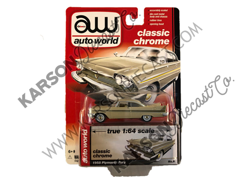 1958 Plymouth Fury Muscle Cars Release 5B 1:64 Scale Diecast Model Car - Autoworld - AW64042