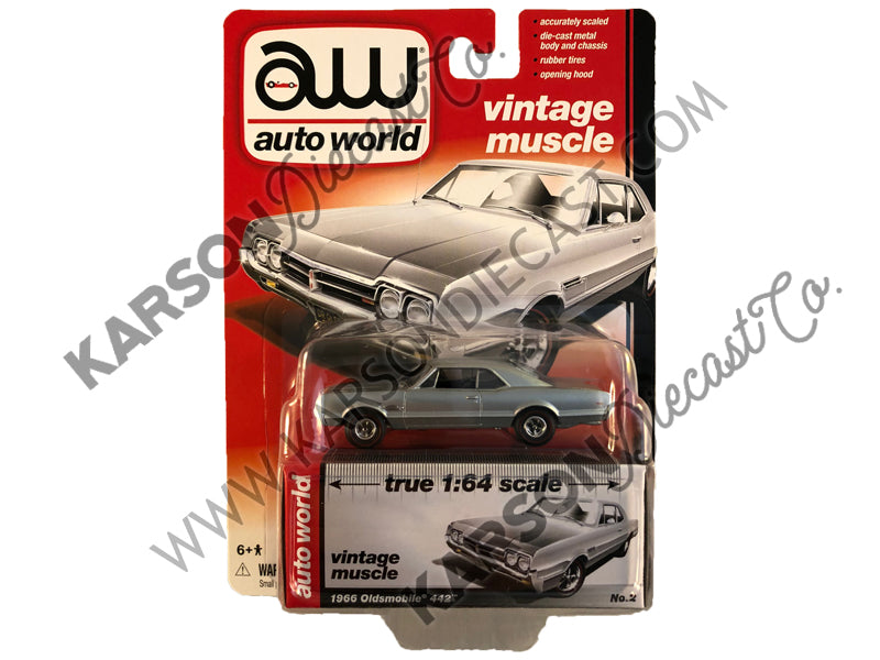 1966 Oldsmobile 442 Muscle Cars Release 5B 1:64 Scale Diecast Model Car - Autoworld - AW64042