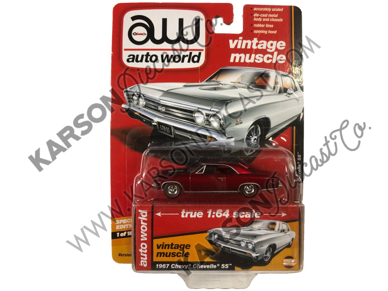 "1967 Chevrolet Chevelle SS Gloss White ""Vintage Muscle"" 1:64 Diecast Model Car - Autoworld - AW64132-24B - CHASE ULTRA RED"