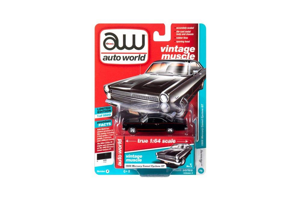 1966 Mercury Comet Cyclone GT, Gloss Black w/ Red Stripe 1:64 Scale Diecast Model Car - Autoworld - AW64202A