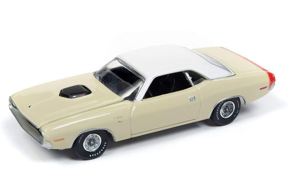 1970 Dodge Challenger R/T, Cream w/ Flat White Roof & Red Trunk Stripe 1:64 Scale Diecast Model Car - Autoworld - AW64202A