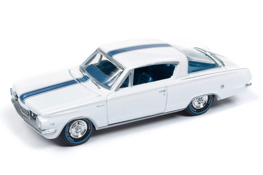 1964 Plymouth Barracuda, Gloss White w/ Light Blue Top Stripe 1:64 Scale Diecast Model Car - Autoworld - AW64202A