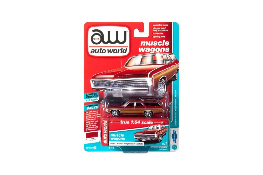 1969 Chevy Kingswood Estate, Garnet Red w/ Woodgrain 1:64 Scale Diecast Model Car - Autoworld - 64202A