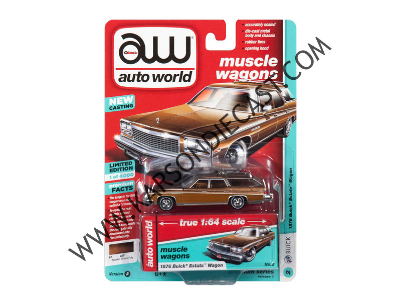 1976 Buick Estate Wagon Musket Brown Metallic w/ Woodgrain 1:64 Diecast Model Car - Autoworld - AW64212A