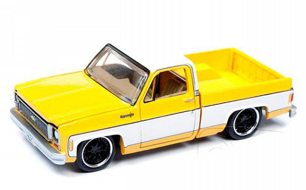 1973 Chevy Cheyenne Fleetside Truck Yellow Premium 2019 Release 2A 1:64 Scale Model - Autoworld - AW64222A