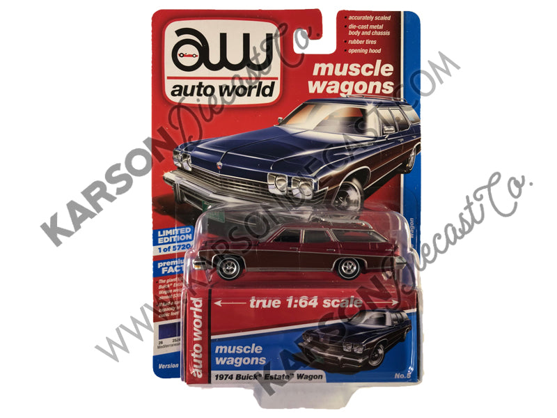 1974 Buick Estate Wagon Premium 2019 Release 2A 1:64 Scale Model - Autoworld - AW64222A - CHASE ULTRA RED
