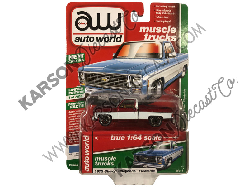 1973 Chevy Cheyenne Fleetside Truck Premium 2019 Release 2B 1:64 Scale Model - Autoworld - AW64222-AWSP023B - CHASE ULTRA RED