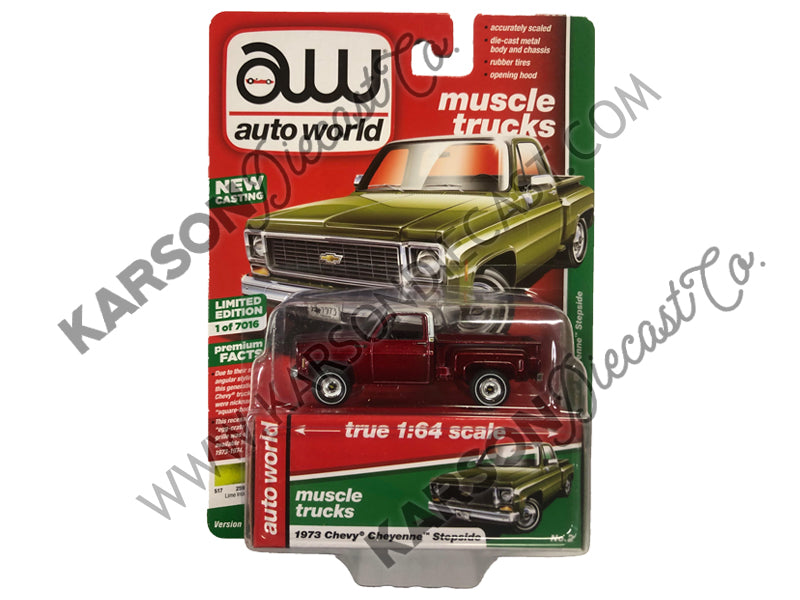 1973 Chevy Cheyenne Stepside Truck Green Premium 2019 Release 2B 1:64 Scale Model - Autoworld - AW64222B - CHASE ULTRA RED