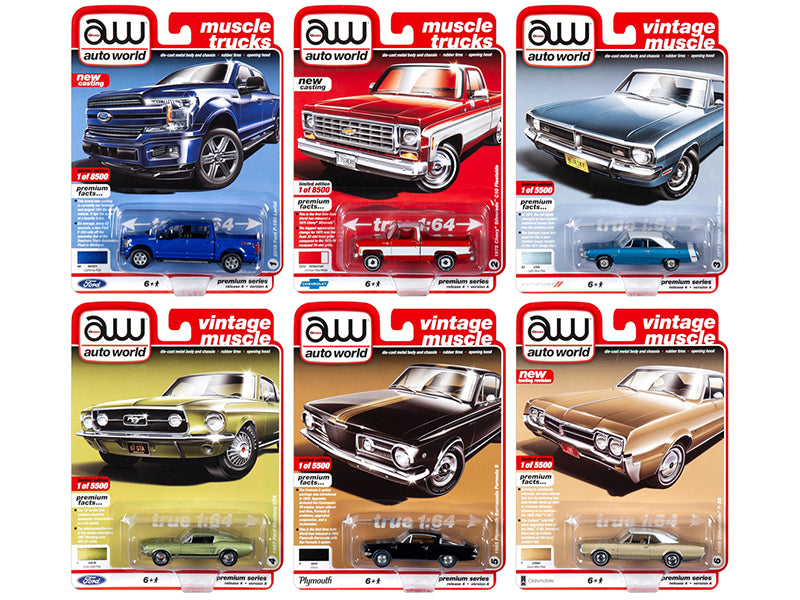 Autoworld Muscle Cars Premium 2019 Release 4, Set A of 6 pieces 1/64 Diecast Model Cars - Autoworld - AW64232A