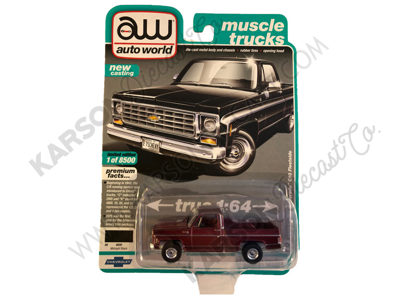 "1975 Chevrolet Silverado C10 Fleetside Pickup Truck Midnight Black ""Muscle Trucks"" Limited Edition to 8,500 pieces Worldwide 1/64 Diecast Model Car - Autoworld - AW64232B - CHASE ULTRA RED"