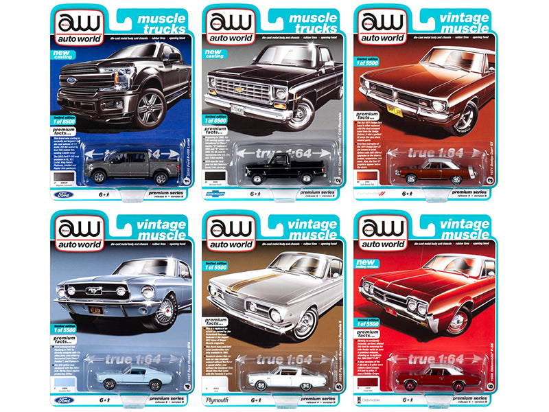 Autoworld Muscle Cars Premium 2019 Release 4, Set B of 6 pieces 1/64 Diecast Model Cars - Autoworld - AW64232B