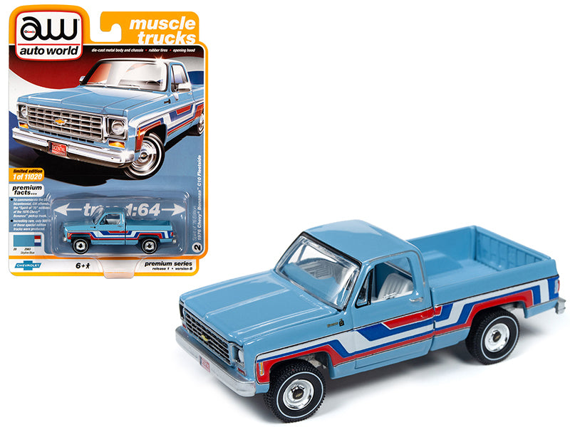 "1976 Chevrolet Bonanza C10 Fleetside Pickup Truck ""Bicentennial Edition"" Skyline Blue with Stripes ""Muscle Trucks"" Limited Edition to 11,020 pieces Worldwide 1:64 Diecast Model - Autoworld - AW64242B"
