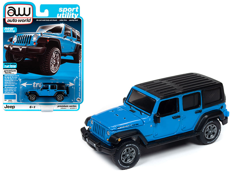 "2018 Jeep Wrangler Unlimited Rubicon Chief Blue with Flat Black Top ""Sport Utility"" Limited Edition to 7,516 pieces Worldwide 1:64 Diecast Model - Autoworld - AW64242A"
