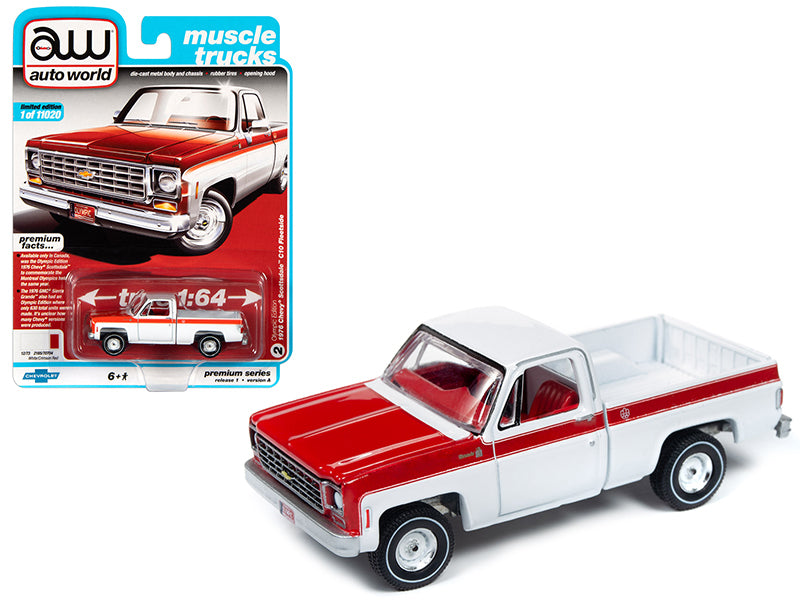 "1976 Chevrolet Scottsdale C10 Fleetside Pickup Truck ""Olympic Edition"" White and Red ""Muscle Trucks"" Limited Edition to 11,020 pieces Worldwide 1:64 Diecast Model - Autoworld - AW64242A"