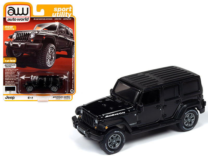 "2018 Jeep Wrangler Unlimited Rubicon Gloss Black ""Sport Utility"" Limited Edition to 7,516 pieces Worldwide 1:64 Diecast Model - Autoworld - AW64242B"