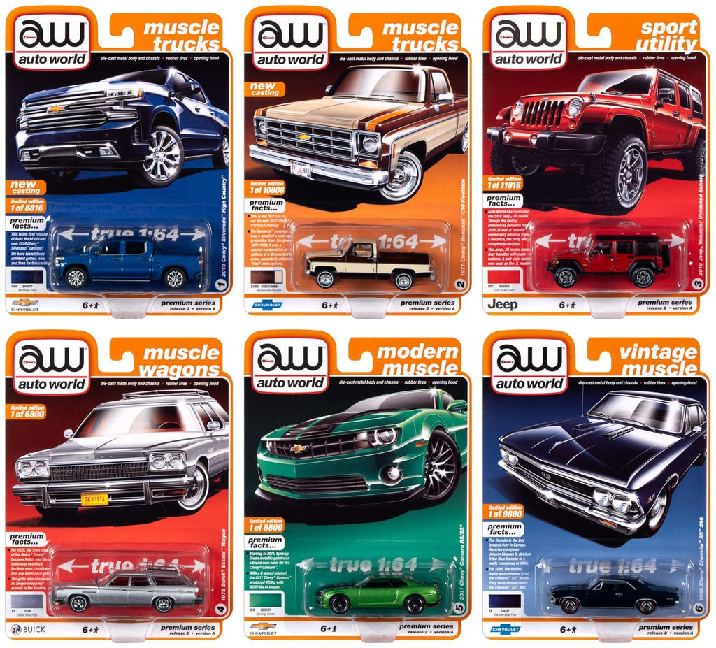 Autoworld Muscle Cars Premium 2020 Release 2 - Set A - 6 piece 1:64 Diecast Model Cars - Autoworld - AW64252A