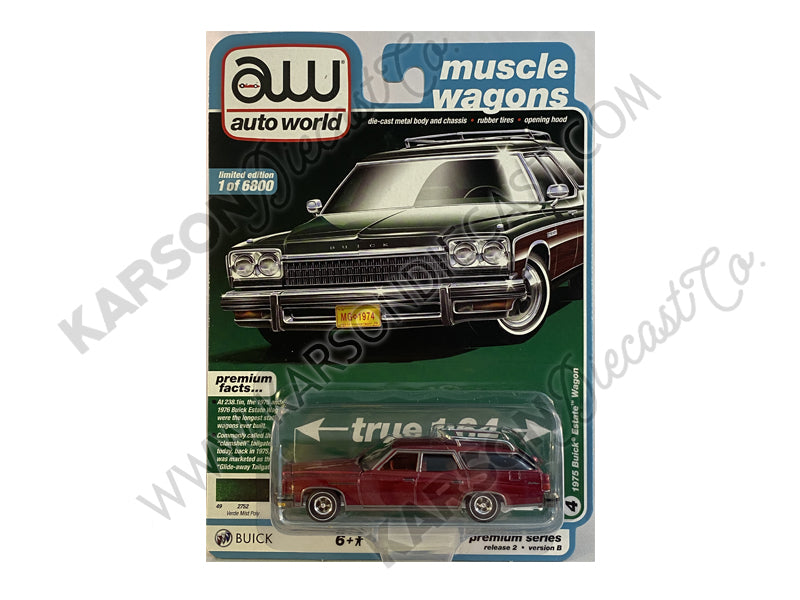 CHASE 1975 Buick Estate Wagon Verde Mist Poly Muscle Wagon Premium 2020 Release 2B 1:64 Diecast Model Cars - Autoworld - AW64252B