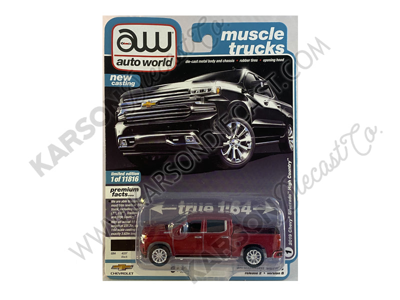 CHASE 2019 Chevrolet Silverado High Country Black Pickup Truck Muscle Trucks Premium 2020 Release 2B 1:64 Diecast Model Cars - Autoworld - AW64252B