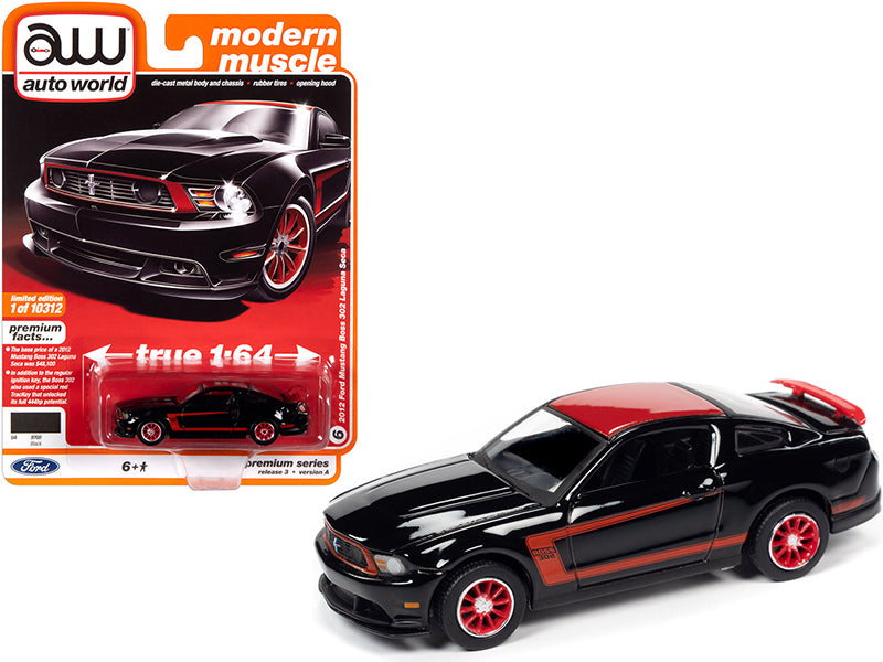 "2012 Ford Mustang Boss 302 Laguna Seca Black ""Modern Muscle"" Limited Edition to 10312 pieces Worldwide 1:64 Diecast Model Car - Autoworld AW64262A"