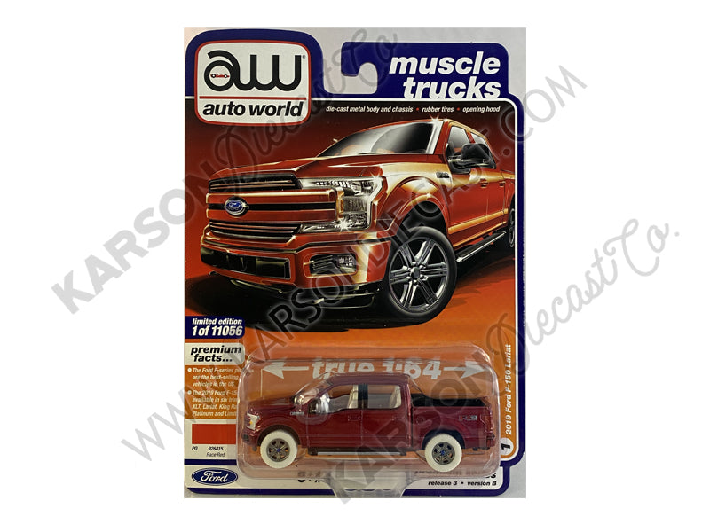 "CHASE 2019 Ford F-150 Lariat Pickup Truck Race Red ""Muscle Trucks"" Limited Edition to 11056 pcs Worldwide 1:64 Diecast Model Car - Autoworld AW64262B"