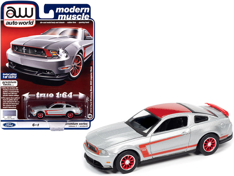 "2012 Ford Mustang Boss 302 Laguna Seca Silver Metallic ""Modern Muscle"" Limited Edition to 13312 pcs Worldwide 1:64 Diecast Model - Autoworld AW64262B"