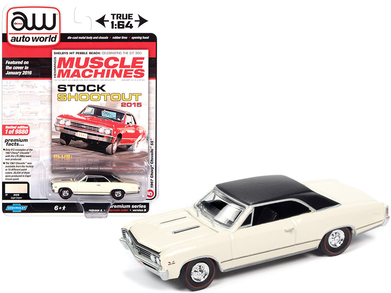 "1967 Chevrolet Chevelle SS Capri Cream with Flat Black Vinyl Top ""Hemmings Muscle Machines"" Magazine Cover Car (January 2016) Limited Edition to 9880 pieces Worldwide 1:64 Diecast Model Car - Autoworld - AW64272B"