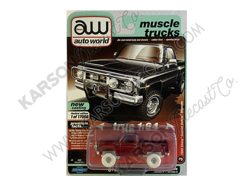 "CHASE 1980 Chevrolet Custom Deluxe Stepside Pickup Truck Black ""Muscle Trucks"" Limited to 17008 pcs Worldwide 1:64 Diecast Model - Autoworld 64282A"